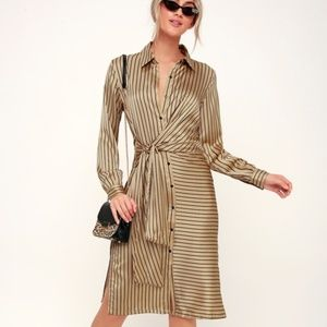 Lulu's Lush Midi Dress Small Love in Luxe Gold